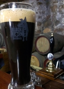 A glass of Black Dog Brewery stout