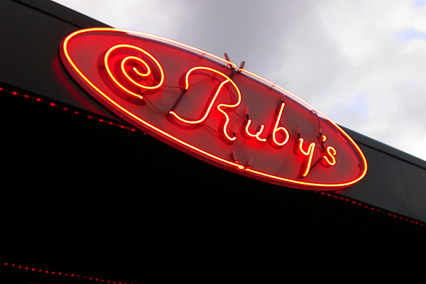 The Ruby's red neon sign