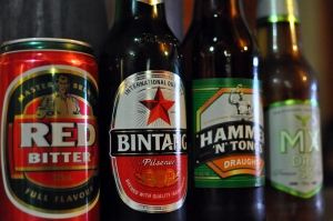 Four mass produced lager beers