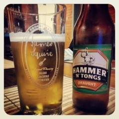 Hammer N Tongs Draught in a glass and bottle