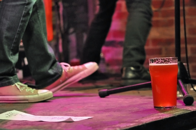 Feature image of beer pint on stage at Cherry Bar during Good Beer Week