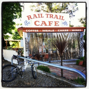 The exterior of the little Rail Trail Cafe