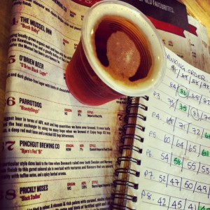 A GABS beer taster with the festival guide description and a notebook or numbers