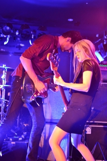 Paul Dempsey and Stephanie Ashworth jamming on stage
