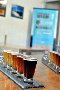 A tasting paddle at Sweetwater Brewing Company