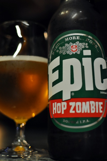 Bottle and glass of Epic Hop Zombie
