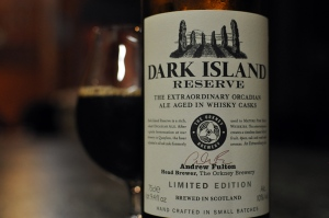 A bottle and glass of Dark Island Reserve