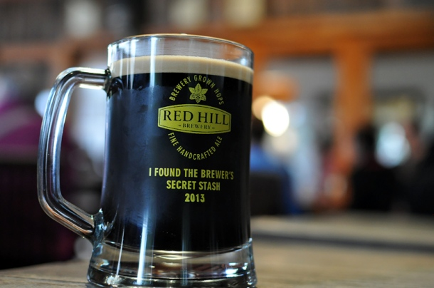 A pint of handpulled 2013 Red Hill Brewery Imperial Stout