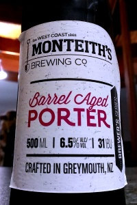 A close up of the Monteith's Brewing Barrel Aged Porter bottle label
