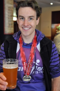James with a pint of beer after the Melbourne half marathon