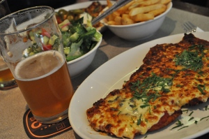 A pint of beer and a parma at Mrs Parmas