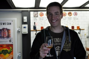 James with a beer at the Garage Project tasting room