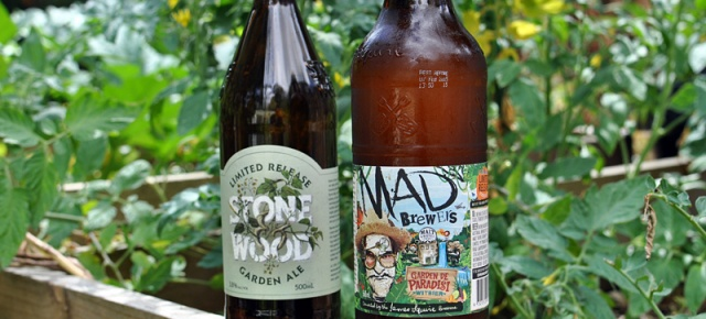 Bottles of Stone & Wood Garden Ale and Mad Brewers Garden de Paradise in a garden