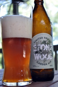 A glass and bottle of Stone and Wood Garden Ale