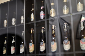 A glass cabinet of old Matilda Bay beers at the Sail and Anchor pub.