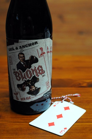 A bottle of Sail & Anchor The Bloke red ale.